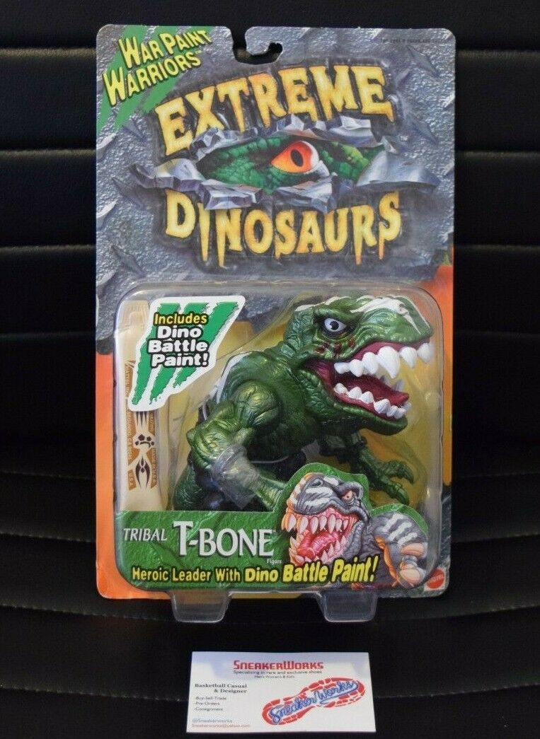 New vintage mattel extreme dinosaurier kriegsbemalung t - bone - action - figur 17742 1996