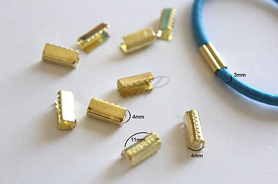 50 Pcs Gold Tone Bail Connector Crimp For Elastic Cord Book