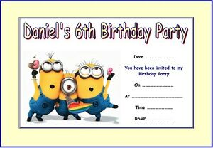 PERSONALISED DESPICABLE ME MINIONS 2 PARTY INVITATIONS x 10 eBay