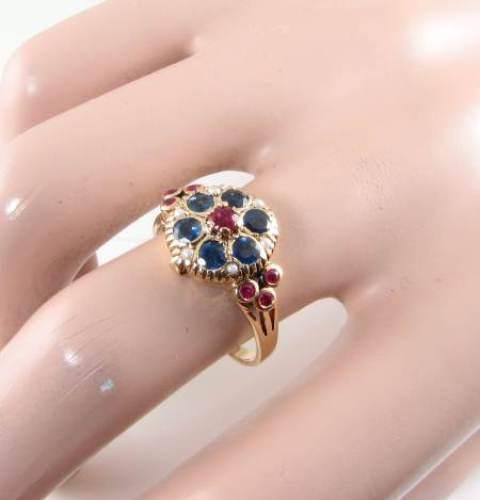 Lovely inglese 9K 9K 9K 9CT oro Indiano Ruby Blu Zaffiro Perla VELENO Medaglione Anello ab5731
