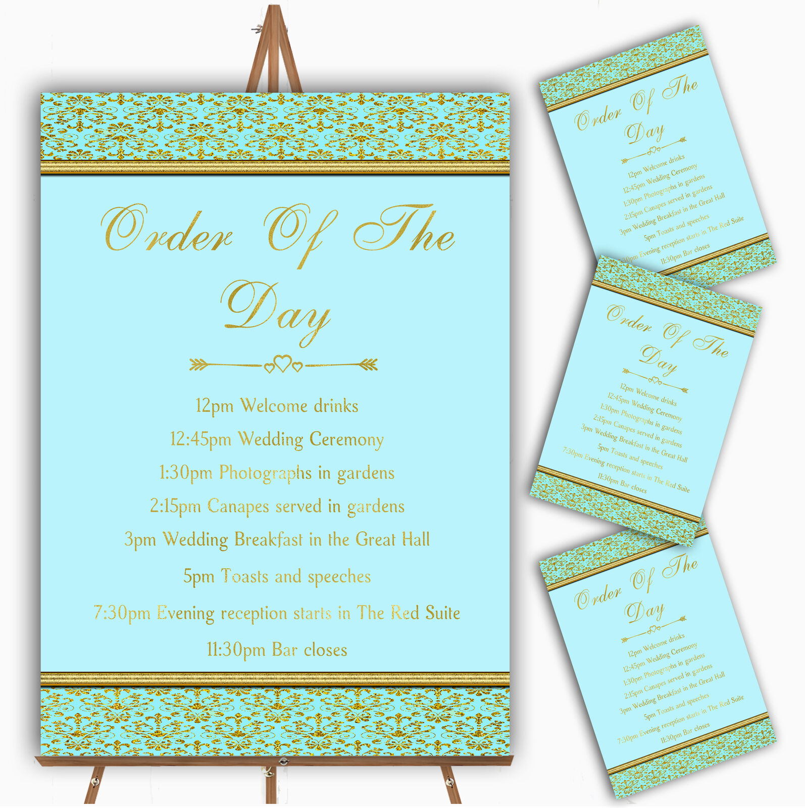 Aqua Sky Blau & Gold Vintage Damask Personalised Wedding Order Of The Day Cards