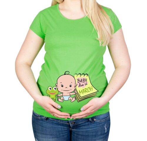 Maternity S-XXL Due In March Baby Shower Gift Party Cotton Funny Top T-Shirt