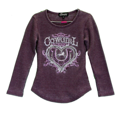 Cowgirl Hardware Youth Purple Acid Wash Cowgirl Waffle Tee 415348-194 815348-194
