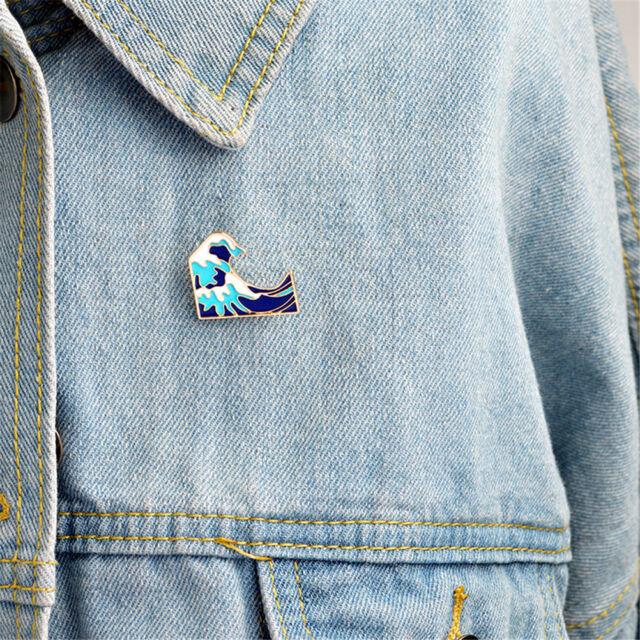 1PC Blue waves brooch Enamel Pin buckle Metal Brooch Coat Jacket Bag Badge KK