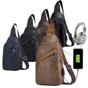 Men-039-s-Shoulder-Bag-Leather-Sling-Chest-Pack-Sport-Crossbody-Handbag-USB-Charging