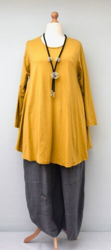 "OVERSIZED COTTON RELAXED A-LINE LONG TOP//TUNIC**YELLOW**BUST UP TO 44/"" M-L-XL"