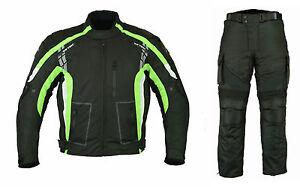 Motorcycle-Motorbike-Textile-Jacket-Trouser-Suit-Black-Waterproof-CE-Armoured