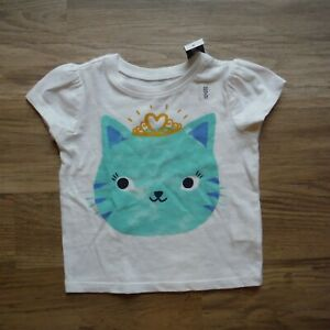 Girls-White-Kitty-Princess-Tee-Shirt-Toddler-size-12-18-months-Old-Navy-New