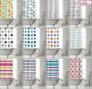 NEW-Modern-Bathroom-Shower-Curtain-with-Ring-Hooks-180-x-180-cm-Stripe-Spots