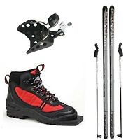 Whitewoods Junior 75mm 3 Pin Xc Cross Country Package Skis Boots Poles 137cm