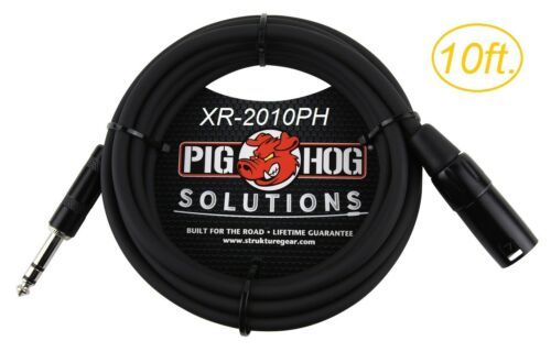 """10ft 1//4/"""" TRS Male to XLR 3-Pin Male Shielded Balanced PigHog Audio Cable"""