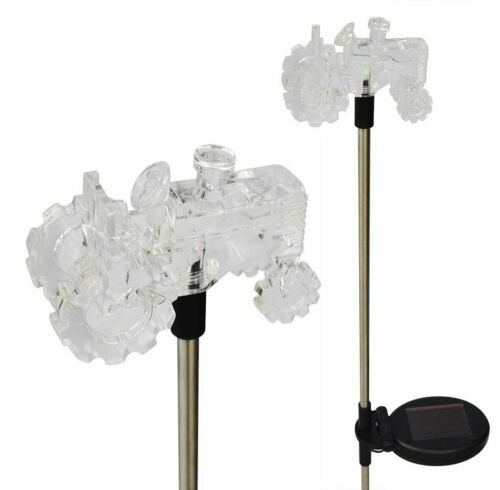 Set of 2 Solar Powered Tractor Yard Garden Stake Color Changing LED Light