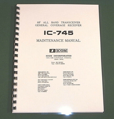 """Icom IC-745 Service manual With 12/"""" X 33/"""" Foldout Schematic Diagrams!"""