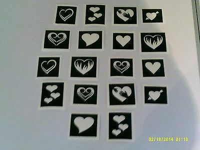 10-400 mini small heart themed stencils for etching on glass Valentine love