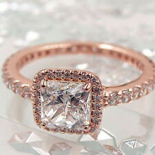 Timeless Ring Rose Gold PL 925 Solid Sterling Silver Pave Band Size 56 / 7.5