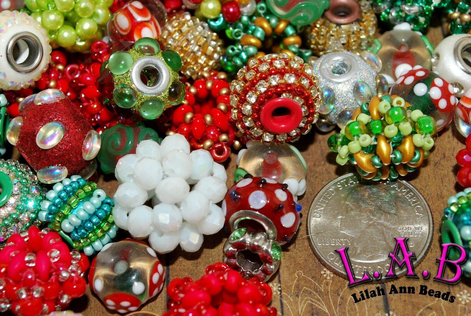 Handmade Lampwork Boho /& Beaded by Lilah Ann Beads Premium Large Hole Christmas Bead Mix