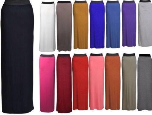 WOMENS GYPSY LONG JERSEY MAXI DRESS SKIRT LADIES PLAIN LONG SKIRT PLUS SIZE 8-26