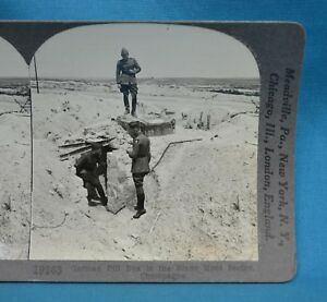WW1-Stereoview-Photo-German-Pill-Box-Blanc-Mont-Sector-Champagne-France-Keystone