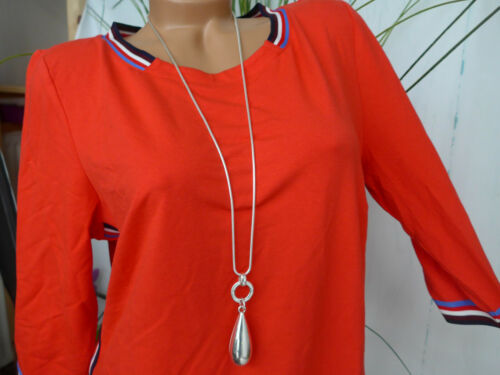 456 Sheego Robe Jersey Robe Shirt Robe manches courtes à rayures taille 44 Rouge argile