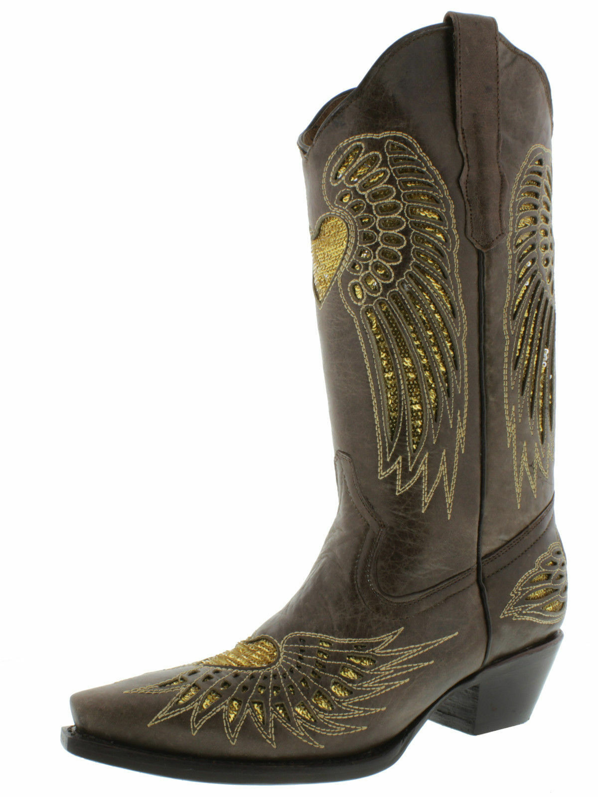 femmes marron marron marron or Heart Sequins Leather Wear Cowgirl bottes Pointed Toe 1db7fd