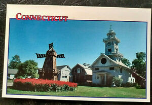 Stratford CT postcard : Clock Tower and Windmill - Boothe Homestead 1990s