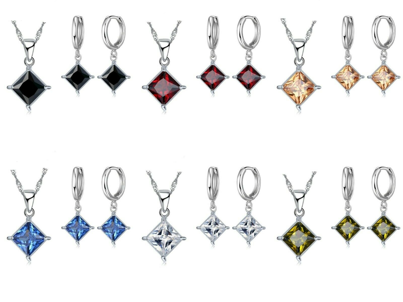 Ladies Women 925 Sterling Silver Bridal Fashion Crystal Necklace Earring Set UK