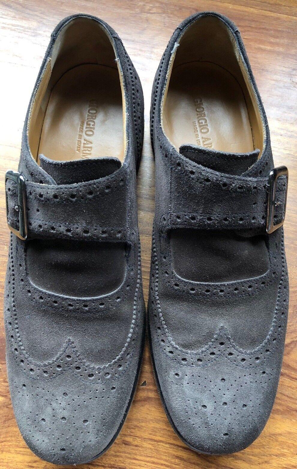 Mocassino Tg. GIORGIO ARMANI Tg. Mocassino 9 monkstrap scamosciato grigio 33c670