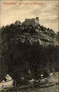 Riesengebirge-Polen-s-w-AK-Postcard-1908-Blick-auf-Burg-Kynast-vom-Hoellengrund