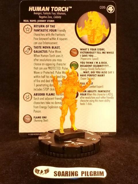 HUMAN TORCH JOHNNY STORM 035 Fantastic Four Marvel Heroclix Rare