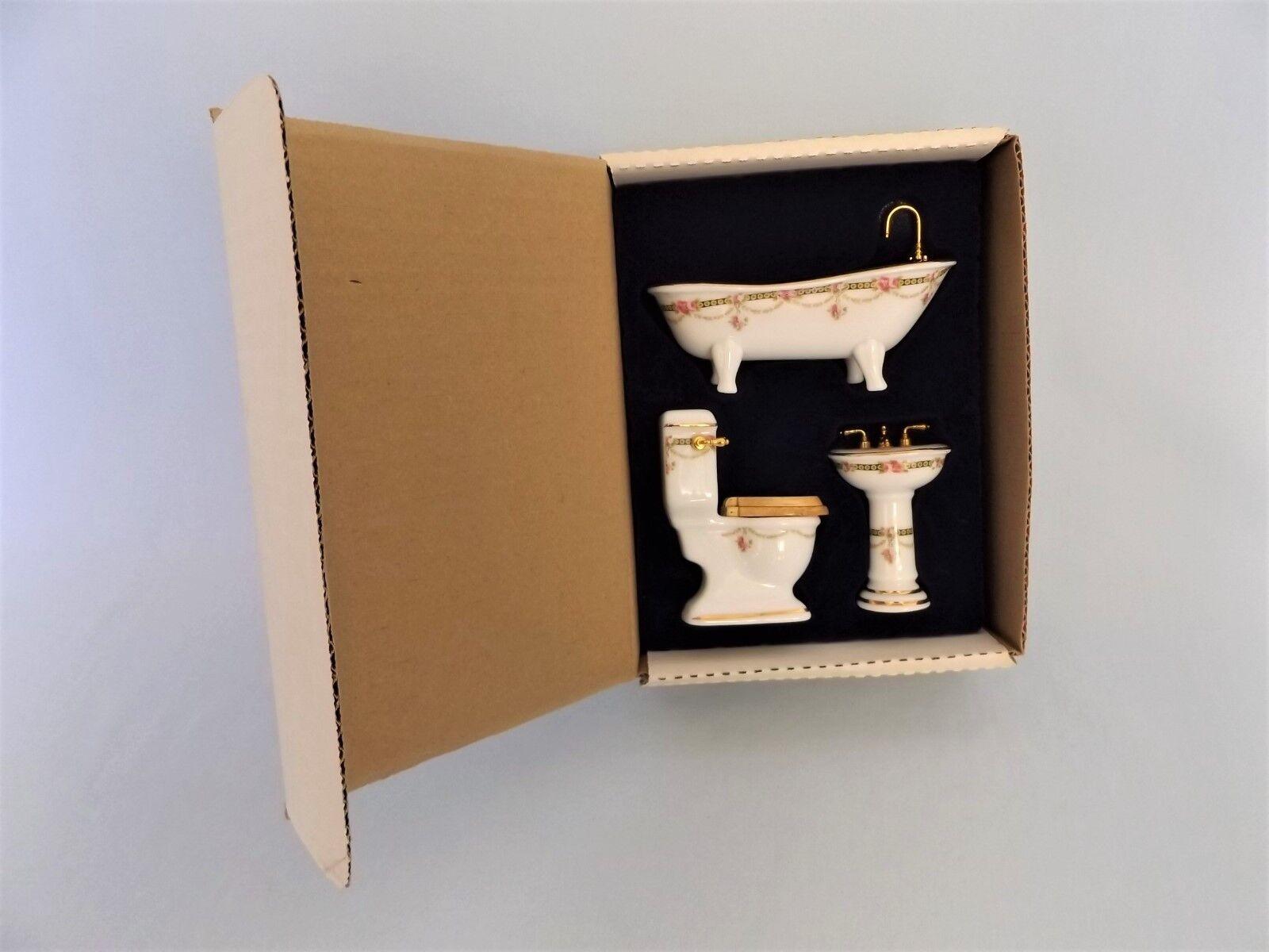 Reutter Miniatur Porzellan Badset 3-tlg. Biedermeier Stil OVP Puppenstube 1 12
