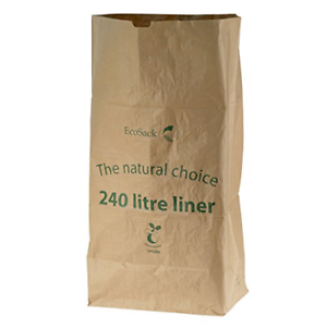 Tout-Vert 240 l papier compostable Wheelie sacs poubelles Avec 10 Sacs Marron
