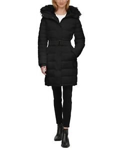 Calvin Klein Ladies' Black Belted Parka Faux Fur Collar Full Zip Puffer Coat