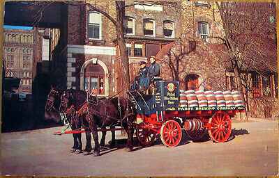 1967 Chrome Postcard: Pabst Blue Ribbon Beer, Brewery Wagon/Horses-Milwaukee, WI