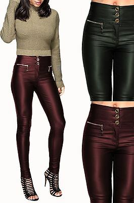 Womens Wet Look Sexy Glossy Pu High Rise Waisted Leather Skinny Fit Trousers VerrüCkter Preis
