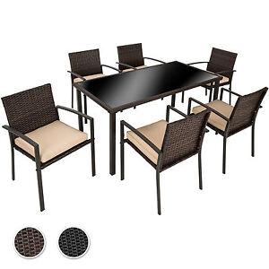 poly rattan gartenm bel set garnitur sitzgarnitur st hle tisch sitzgruppe 6 1 ebay. Black Bedroom Furniture Sets. Home Design Ideas