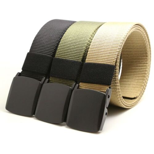 US Buckle Long Canvas Nylon Waist Web Belt Outdoor Tactical Strap Waistband