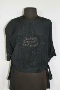 RARE-PLUS-SIZE-44-FRENCH-VINTAGE-1920-039-S-1930-039-S-BLUE-SILK-CHIFFON-BEADED-BLOUSE