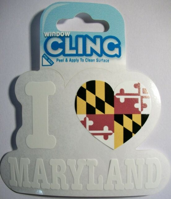 I Love Maryland with Heart Window Cling