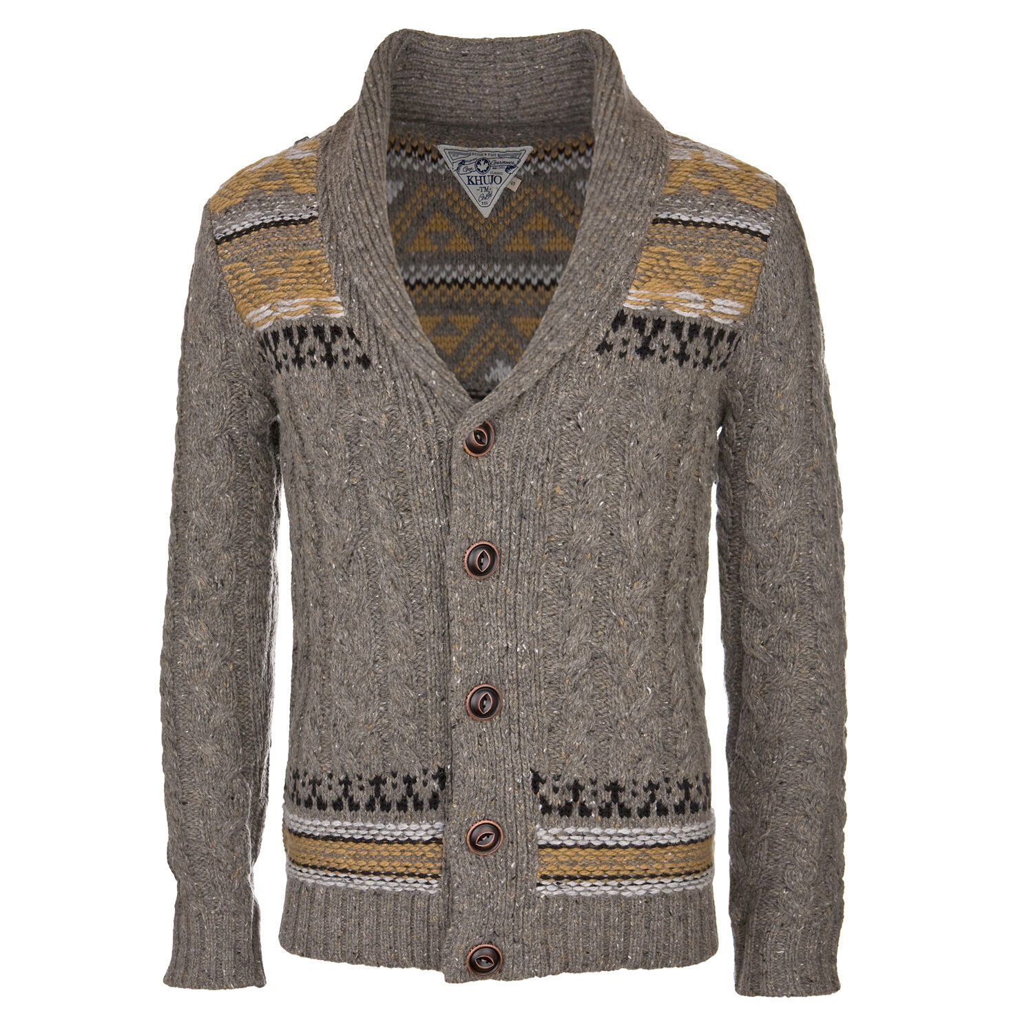 Khujo Pals Sweater Grey - Men's Knitted Jumper in Cardigan Style