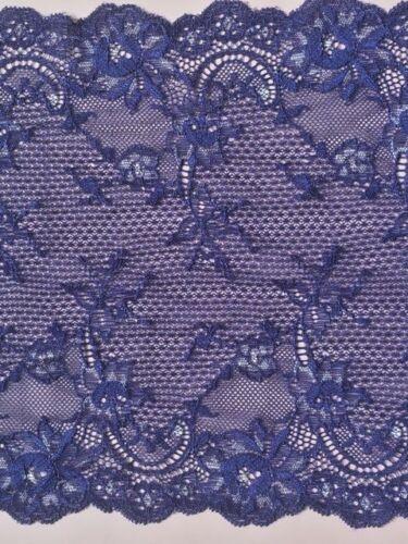 """laverslace Purple Blue Silver Tone Floral Trail Wide Stretch Lace Trim 8/""""//20 cm"""