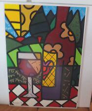 """RARITÄT Romero Britto """" Red Wine"""" 2003 Gesso Panel COA Nr. 96/100 Serigraph"""