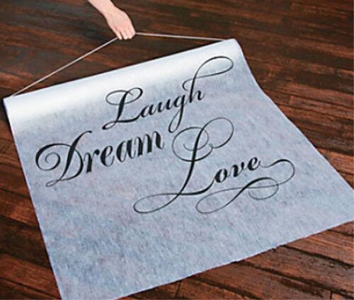 100 ft. Laugh-Dream-Love Wedding Aisle Runner Long Bridal Elegant White Black