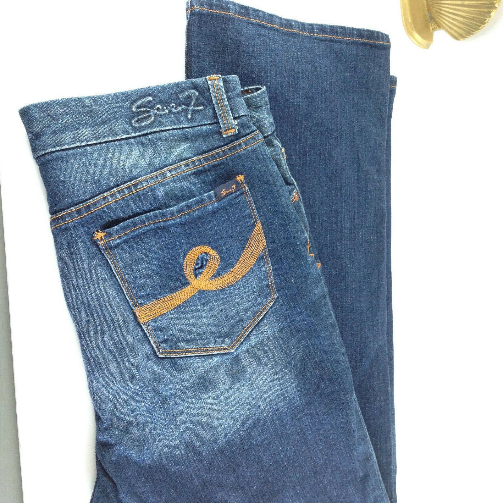 Jeans Seven 7 For All Mankind Size 12 Fits 37  Med-Dark Wash Denim Trouser Boot