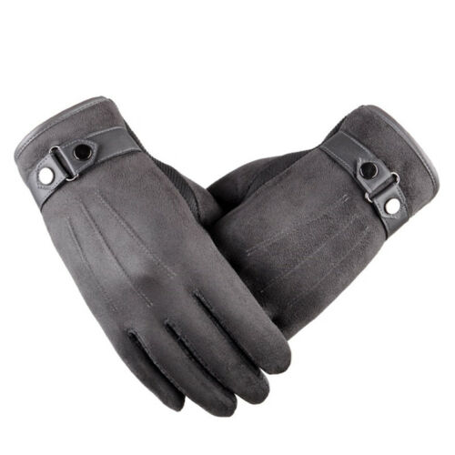 Men Winter Suede Leather Fleece Lined Thermal Touch Phone Screen Driving Gloves