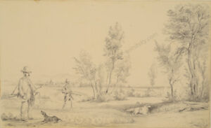 """hunting Scene"" Otto Arnz Ca 1823-aft. 1860 1850 Fast Color Drawing"