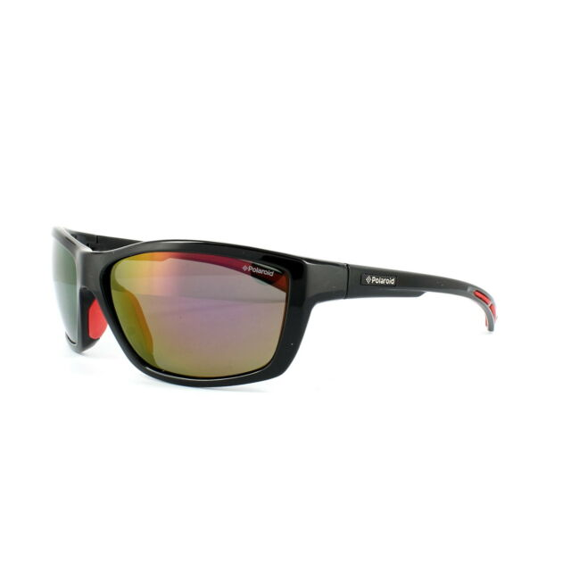 948885611ae Polaroid Sport Sunglasses P7400 0A2 JB Black   Red Silver Mirror Polarized