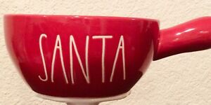 New-Rae-Dunn-Ceramic-Red-Soup-Bowl-w-handle-SANTA-White-LL-Christmas
