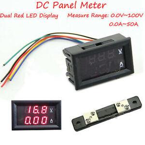 0-100V-50A-DC-Digital-LED-Voltmeter-Ammeter-Amp-Volt-Meter-Current-Shunt-Car
