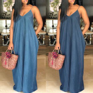 UK-Women-Sexy-Oversized-Strappy-Demin-Jeans-Look-Party-Evening-Long-Maxi-Dress