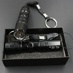 AA battery Super bright 3W Police LED Flashlight Light Lamp Torch W// Clip Clamp